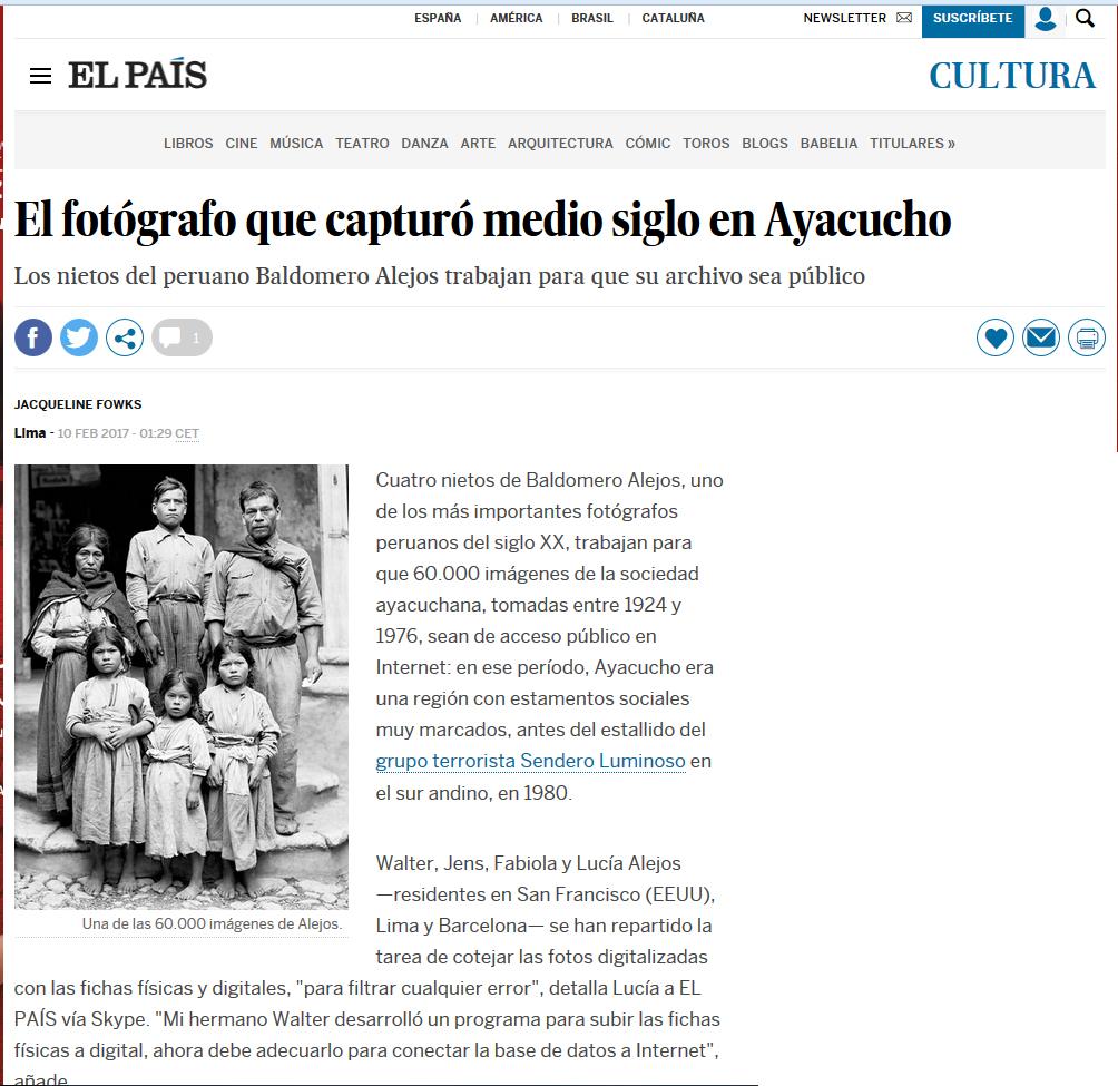 Artículo sobre Baldomero Alejos – Diario El País – España.
